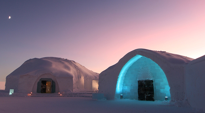 Ice hotel located in Sweden in the morning